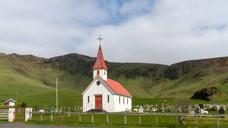 Sandavagur, Faroe Islands - August 2019: The church in sandavagur on Vagar, Faroe Islands 写真素材