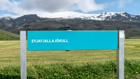 Signage for Eyjafjallajokull volcano in volcanic landscape in Iceland Imagens