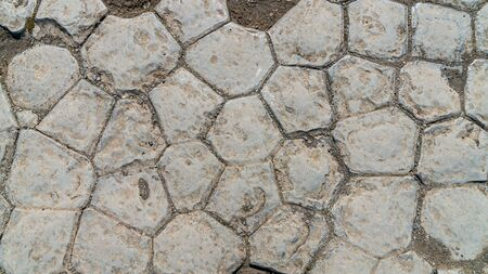 Hexagon basalt rock formations called church floor in Kirkjubaejarklaustur Kirkjugolf, southern Iceland 写真素材