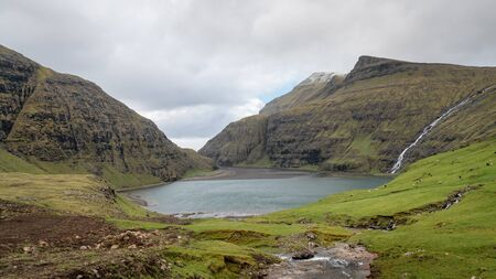 Landscape and lake from Village of Saksun located on the island of Streymoy, Faroe Islands, Denmark