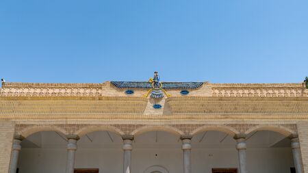 Yazd, Iran - May 2019: Ahura Mazda, name for a divinity exalted by Zoroaster as the one uncreated Creator, hence God. Ateshkadeh fire temple in Yazd, Iran