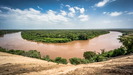 Omo river in Omo Valley, Omorate, Ethiopia