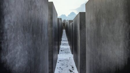Berlin, Germany - November 2019: Isolated Memorial to the Murdered Jews of Europe, Holocaust Memorial, a memorial in Berlin to the Jewish victims during World War II.