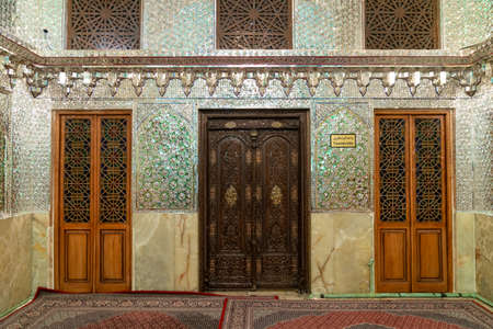 Shiraz, Iran - May 2019: Interior design of Shah e Cheragh Shrine and mausoleum, the mirror mosque