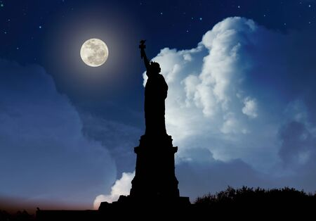 Silhouette of Statue of Liberty over dramatic full moon