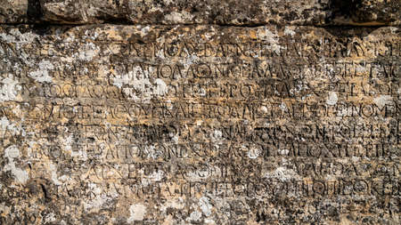 Denizli, Turkey - October 2019: Hierapolis city ruins in Pamukkale