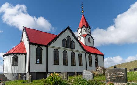 Sandavagur, Faroe Islands - August 2019: The church in sandavagur on Vagar, Faroe Islands Publikacyjne