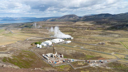 Nesjavellir, Iceland - May 2019: Nesjavellir geothermal facilities in Iceland. Geothermal area with boiling mudpools and steaming fumaroles in Iceland