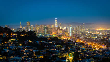 San Francisco, California, USA - August 2019: San Francisco downtown cityscape at night