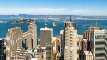 San Francisco, California, USA - August 2019: San Francisco cityscape with Bay Bridge and skyscrapers