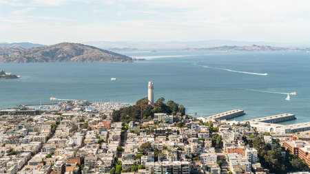 San Francisco, California, USA - August 2019: San Francisco cityscape overlooking Alcatraz Island