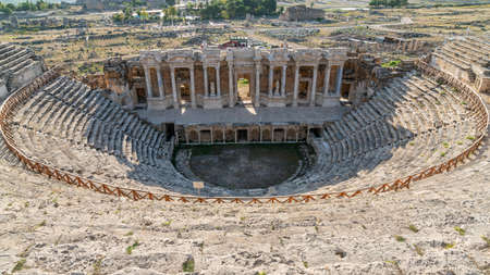 Denizli, Turkey - October 2019: Amphitheater of Hierapolis ruins in Pamukkale Publikacyjne