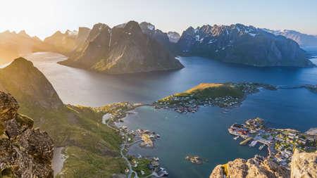 Reinebringen, view on stunning mountains of Lofoten islands overlooking Reine, a famous fishing village in northern Norway, Scandinavia.