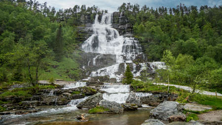 Beautiful nature landscape in Norway with a waterfall