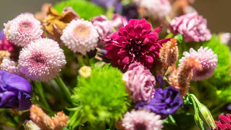 Flowers bouquet arrange for decoration in home or celebration. Depth of field and out of focus is done intentionally and originally