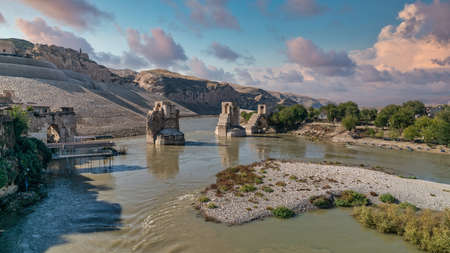 Hasankeyf, Turkey - Remains of the town of Hasankeyf on the River Tigris, famous with stone caves after it is evacuated. The town will be sunk under water of ilisu dam Zdjęcie Seryjne
