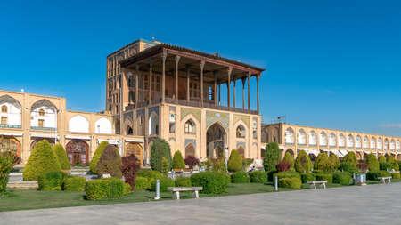 Isfahan, Iran - May 2019: Ali Qapu Palace is a grand palace in Isfahan on Naqsh-e Jahan Square
