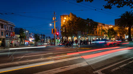 San Francisco, California, USA - August 2019: Long exposure photo of Castro neighbourhood with traffic lights at night