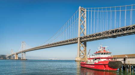 San Francisco, CA, USA - August 2019: Panoramic view of San Francisco Bay bridge in California, United States Editorial