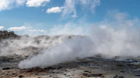 Hverir Myvatn geothermal area with natural steam vents and mud pools all around Lake Myvatn, the Hverir geothermal fields, Iceland Zdjęcie Seryjne