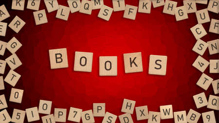 Top view of word Books written with wooden letters with scattered alphabet letters in background