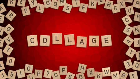 Top view of word Collage written with wooden letters with scattered alphabet letters in background