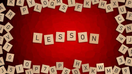 Top view of word Lesson written with wooden letters with scattered alphabet letters in background Zdjęcie Seryjne