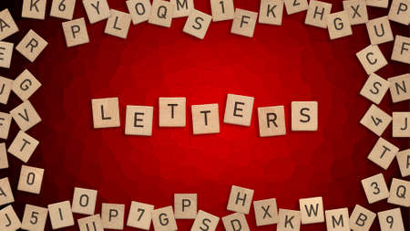 Top view of word Letters written with wooden letters with scattered alphabet letters in background