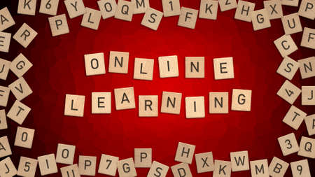 Top view of word Online Learning written with wooden letters with scattered alphabet letters in background