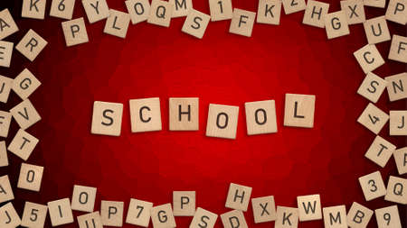 Top view of word School written with wooden letters with scattered alphabet letters in background Zdjęcie Seryjne