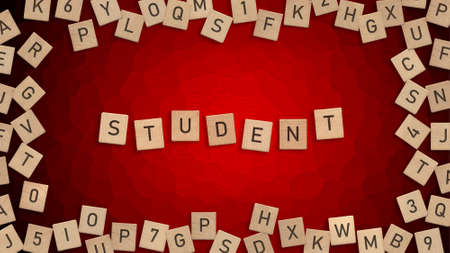 Top view of word Student written with wooden letters with scattered alphabet letters in background Zdjęcie Seryjne