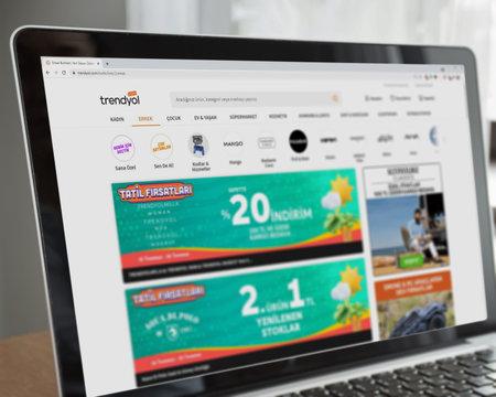 Istanbul, Turkey - July 2021: Illustrative Editorial of Turkish Trendyol website homepage. Trendyol logo visible on laptop screen.