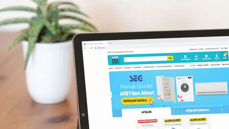 Istanbul, Turkey - July 2021: Illustrative Editorial of Turkish A101 market website homepage. A101 market logo visible on a digital screen close-up