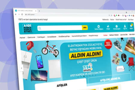 Istanbul, Turkey - July 2021: Illustrative Editorial of Turkish A101 market website homepage. A101 market logo visible with blurred out of focus content done intentionally