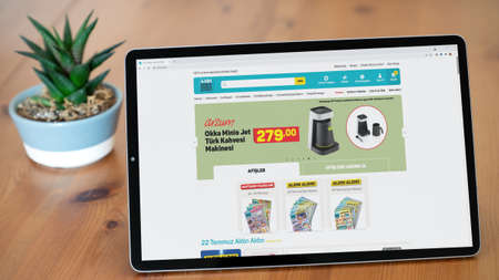 Istanbul, Turkey - July 2021: Illustrative Editorial of Turkish A101 market website homepage. A101 market logo visible on a tablet screen. Publikacyjne