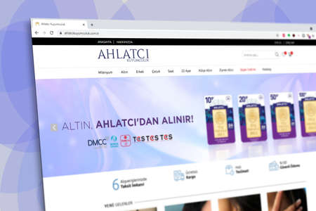 Istanbul, Turkey - July 2021: Illustrative Editorial of Turkish Ahlatci Kuyumculuk website homepage. Ahlatci Kuyumculuk logo visible with blurred out of focus content done intentionally
