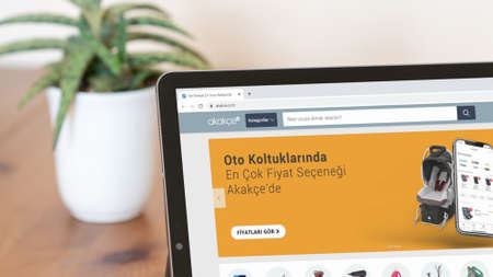 Istanbul, Turkey - July 2021: Illustrative Editorial of Turkish Akakce website homepage. Akakce logo visible on a digital screen close-up