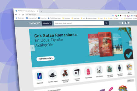 Istanbul, Turkey - July 2021: Illustrative Editorial of Turkish Akakce website homepage. Akakce logo visible with blurred out of focus content done intentionally