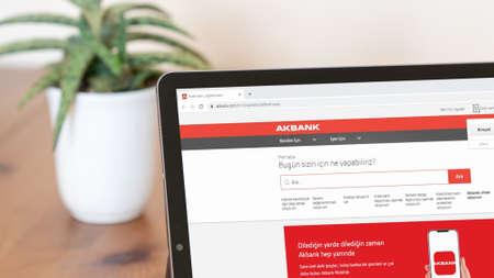 Istanbul, Turkey - July 2021: Illustrative Editorial of Turkish Akbank website homepage. Akbank logo visible on a digital screen close-up Publikacyjne