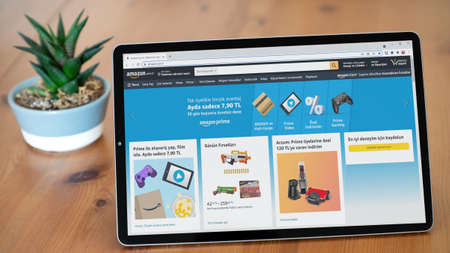 Istanbul, Turkey - July 2021: Illustrative Editorial of Turkish Amazon Store website homepage. Amazon Store logo visible on a tablet screen.