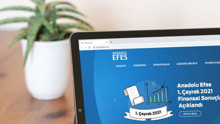 Istanbul, Turkey - July 2021: Illustrative Editorial of Turkish Anadolu Efes website homepage. Anadolu Efes logo visible with blurred out of focus content done intentionally