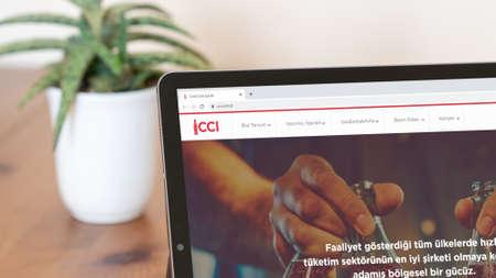 Istanbul, Turkey - July 2021: Illustrative Editorial screenshot of Turkish Coca Cola Icecek website homepage. Coca Cola Icecek logo visible on a digital screen close-up