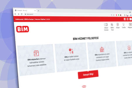 Istanbul, Turkey - July 2021: Illustrative Editorial of Turkish BIM Market website homepage. BIM Market logo visible with blurred out of focus content done intentionally Publikacyjne