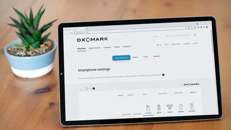 Istanbul, Turkey - July 2021: Illustrative Editorial of DXOMARK optics website homepage. DXOMARK logo visible on a digital screen close-up