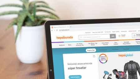 Istanbul, Turkey - July 2021: Illustrative Editorial screenshot of Turkish Hepsiburada website homepage. Hepsiburada logo visible on a digital screen close-up