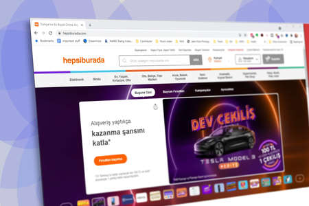 Istanbul, Turkey - July 2021: Illustrative Editorial screenshot of Turkish Hepsiburada website homepage. Hepsiburada logo visible with blurred out of focus content done intentionally