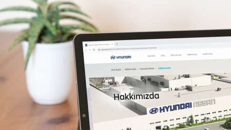 Istanbul, Turkey - July 2021: Illustrative Editorial screenshot of Turkish Hyundai Assan Otomotiv website homepage. Hyundai Assan logo visible on a digital screen close-up
