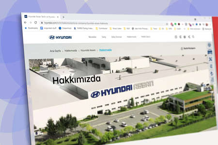 Istanbul, Turkey - July 2021: Illustrative Editorial screenshot of Turkish Hyundai Assan Otomotiv website homepage. Hyundai Assan logo visible with blurred out of focus content done intentionally