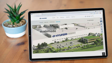 Istanbul, Turkey - July 2021: Illustrative Editorial screenshot of Turkish Hyundai Assan Otomotiv website homepage. Hyundai Assan logo visible on a tablet screen.