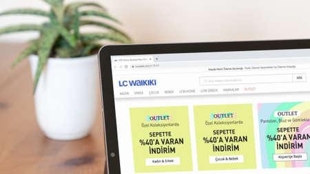 Istanbul, Turkey - July 2021: Illustrative Editorial screenshot of Turkish LC Waikiki website homepage. LC Waikiki logo visible on a digital screen close-up Publikacyjne